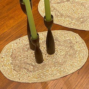 Vintage Hand Beaded Console Mats or Placemats